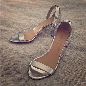 J.Crew silver strappy heels